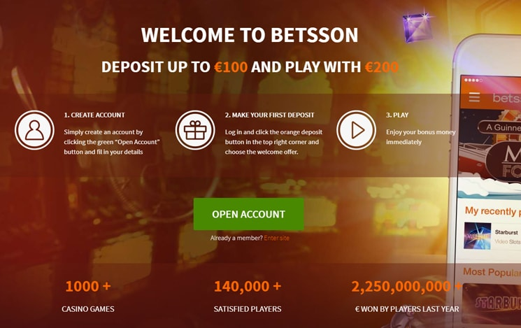 Betsson Casino online bonuses and promotions