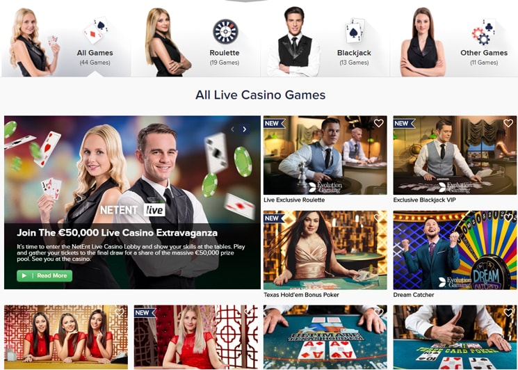 Casino Euro Live Games with real dealers
