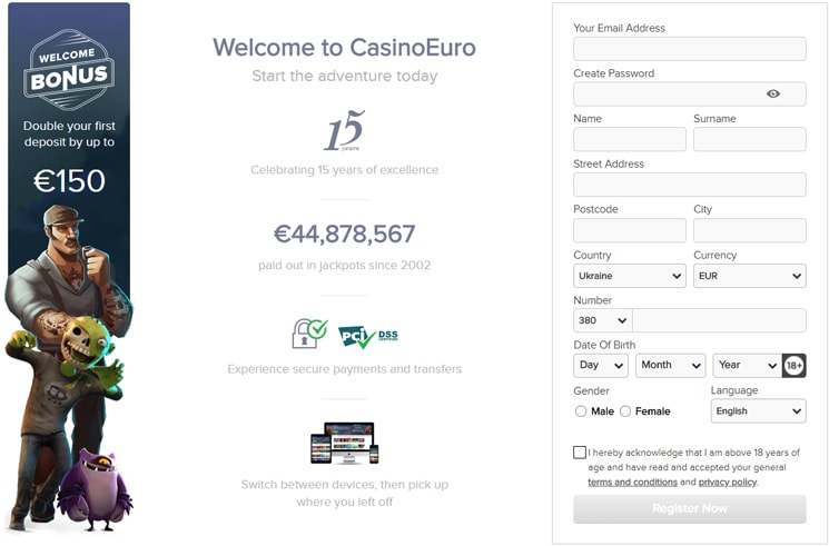 Casino Euro registration form