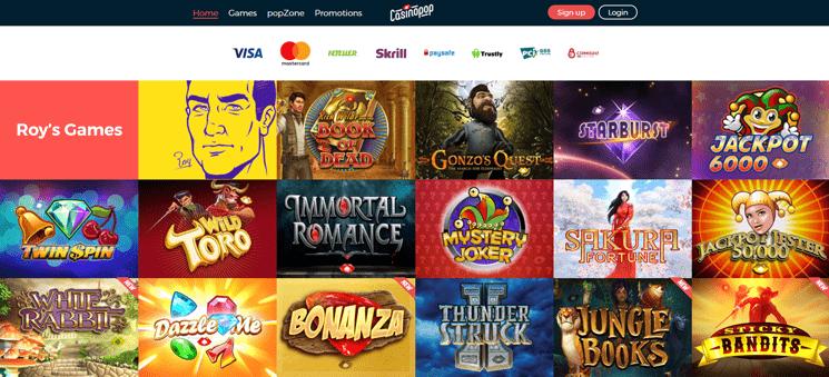 CasinoPop site design