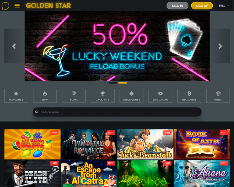 Golden Star casino interface and navigation