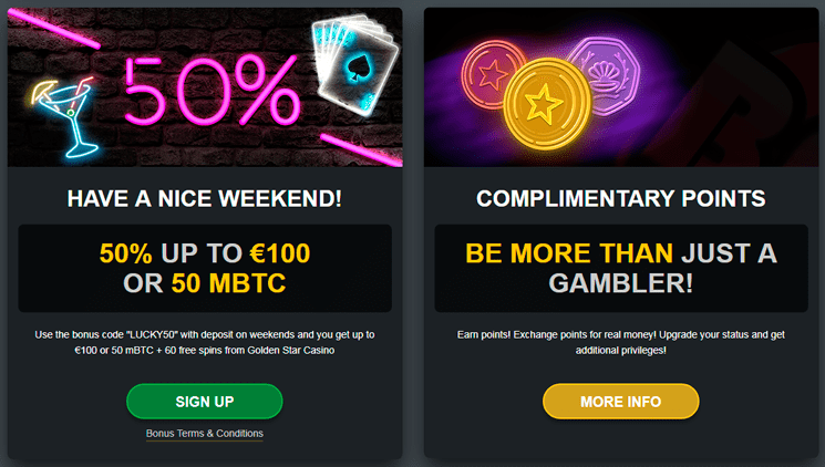 Golden Star casino 50% bonus