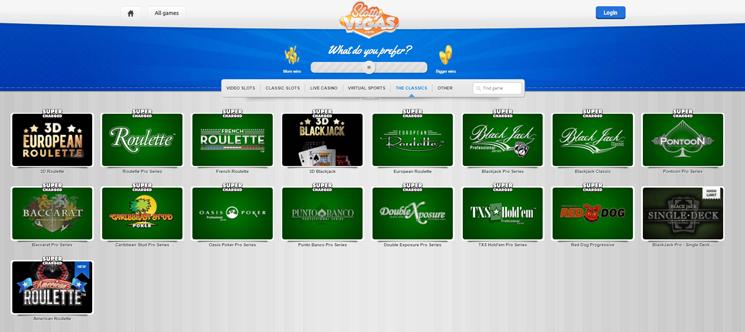 Slotty Vegas table games