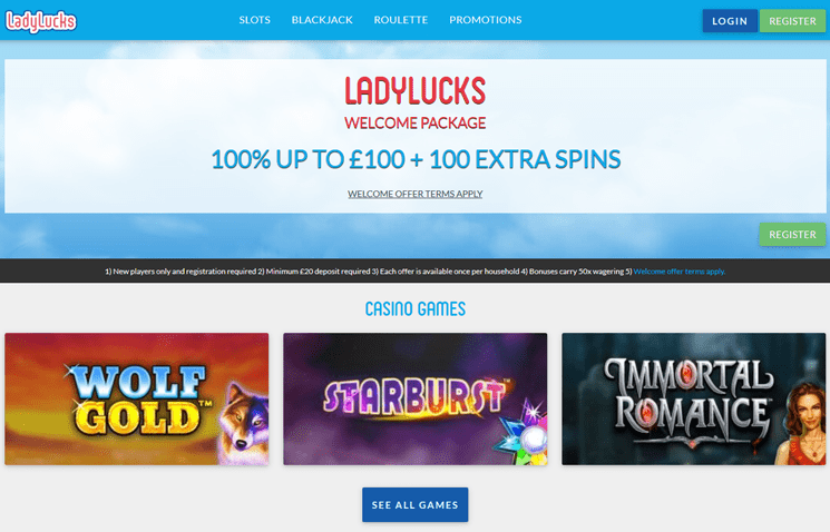 LadyLucks Casino Design, interface and navigation issues