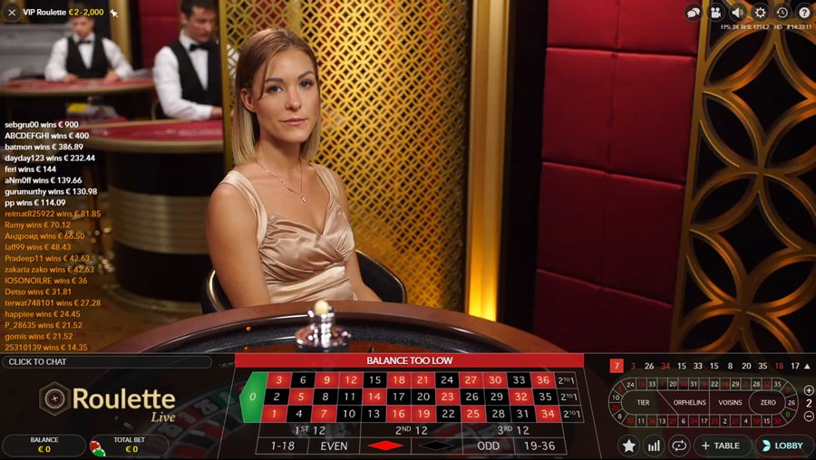Live Roulette on Cabaret Club Casino with live dealers