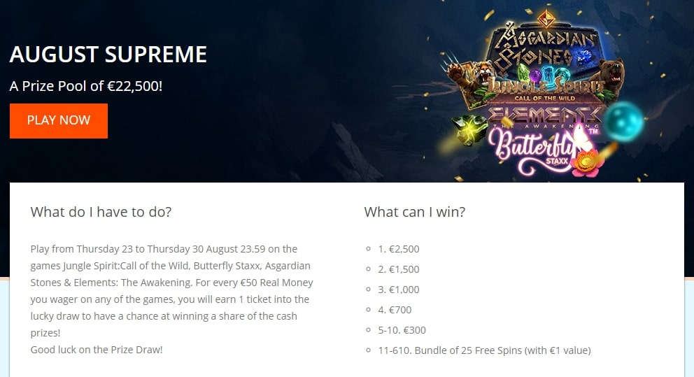 Oranje casino special offers for players