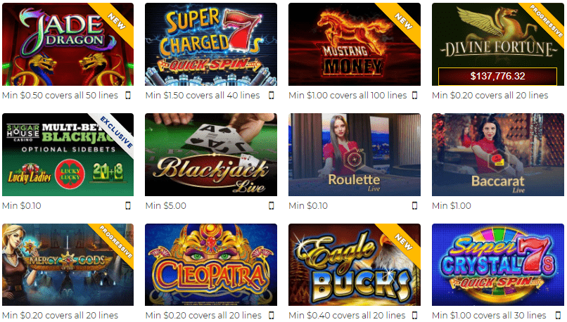 Slots Casino Games from SugarHouse Online Casino