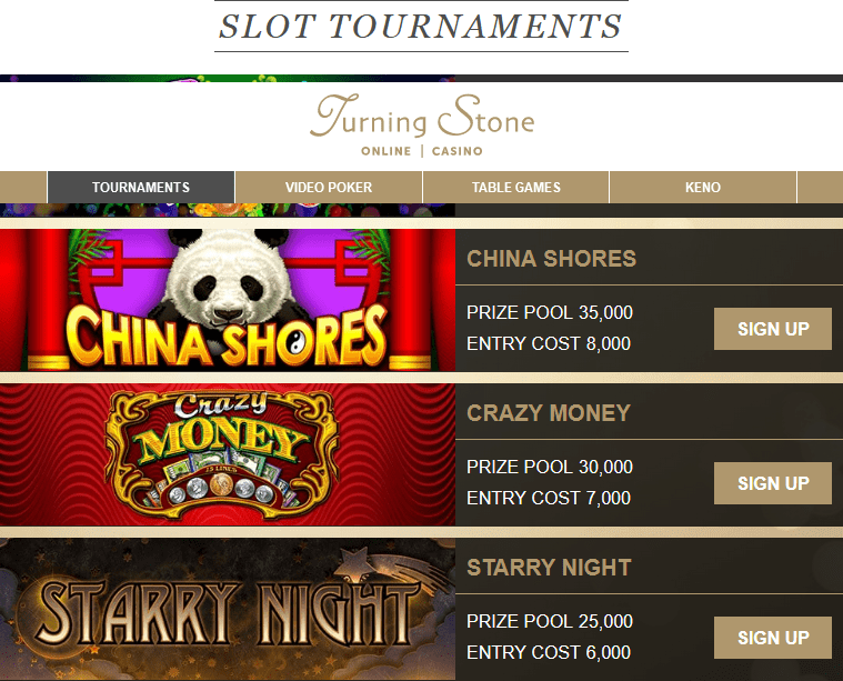 Enter Online Slots Tournaments Turning Stone Online Casino