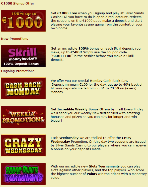 Silver Sands casino promotions