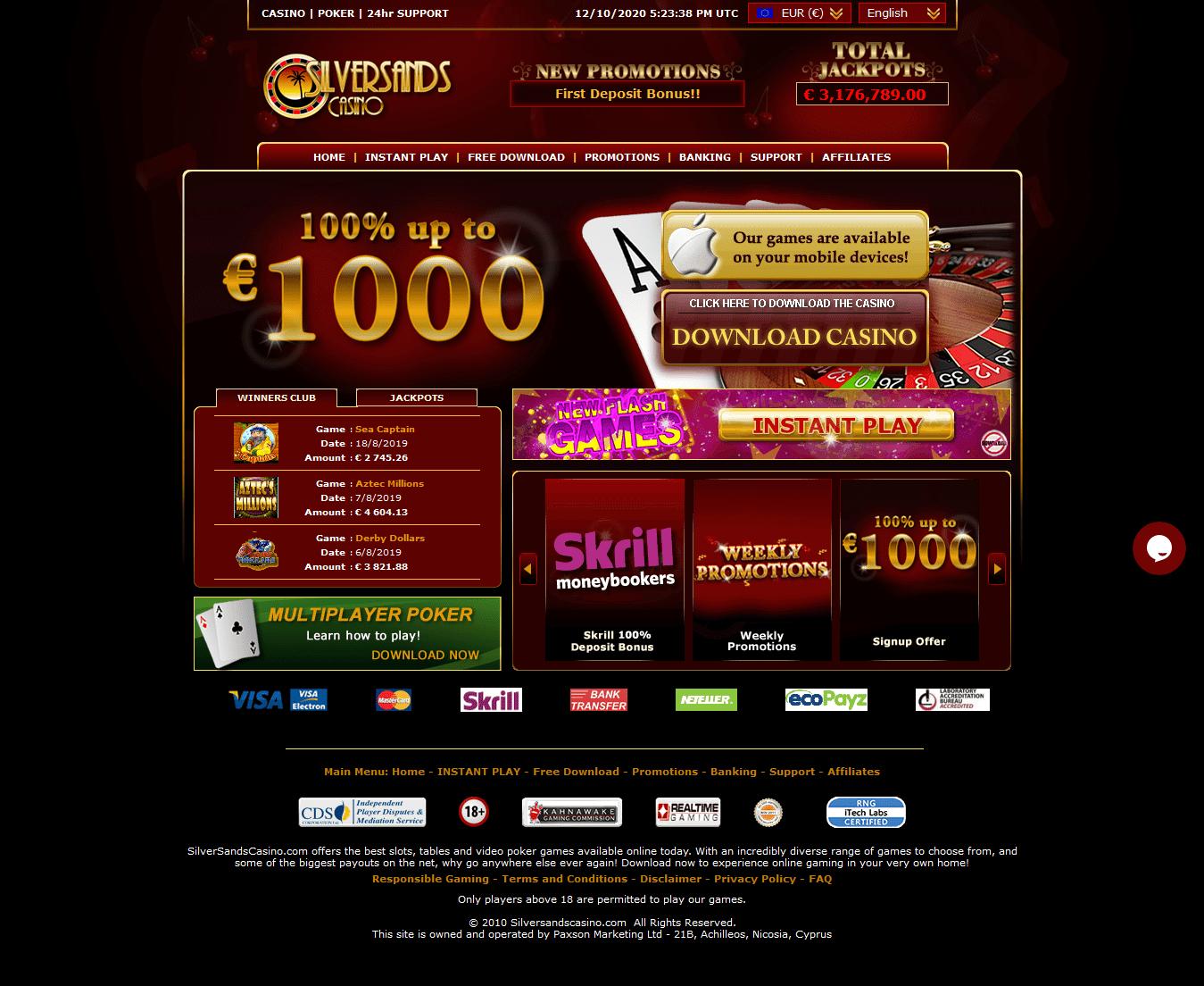silversands online casino support