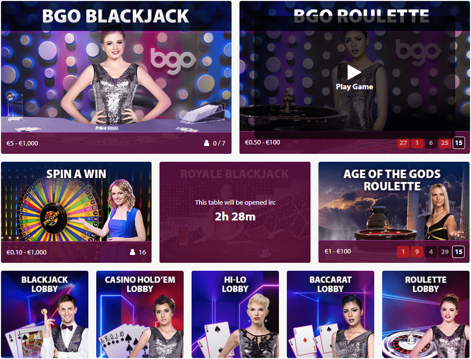 BGO Casino LIVE games